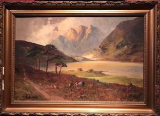 F. E. Jamieson - Fine Scottish Highlands Painting Loch & Mountains Isle of Arran